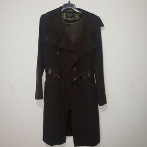 Mackage large brown wool and leather trench coat